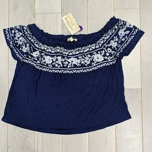Rewind Navy and White Floral Blouse